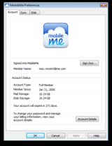MobileMe Control Panel screenshot