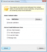 Outlook Email Address Extractor screenshot