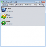 Transfer on LAN screenshot